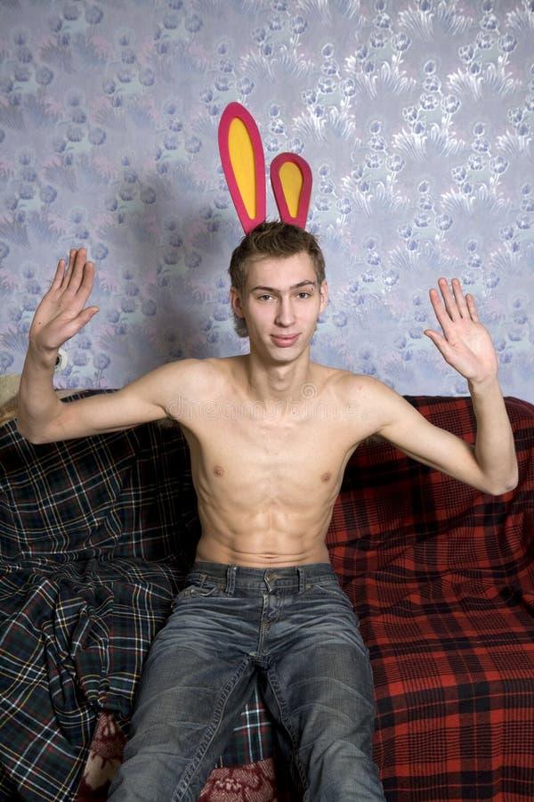 Homem do coelho fotos de stock