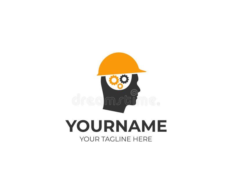 Homem do construtor em um capacete e um cérebro do molde do logotipo das engrenagens O homem pensa sobre um projeto do vetor do p ilustração stock