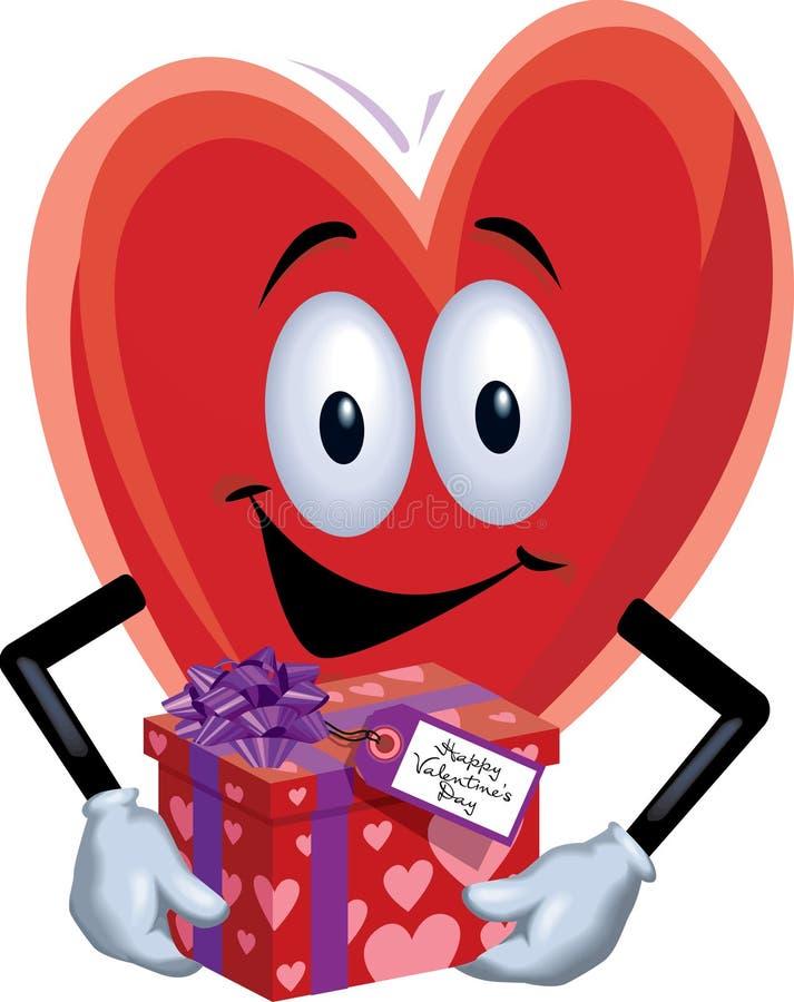 Homem do coração com presente do Valentim fotos de stock