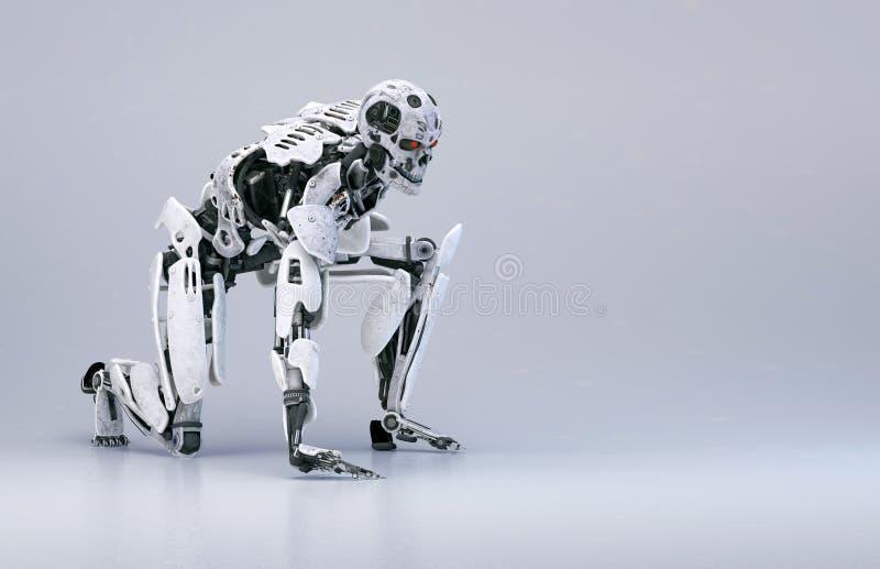 Homem do cyborg do robô, conceito da tecnologia de inteligência artificial ilustração 3D ilustração do vetor