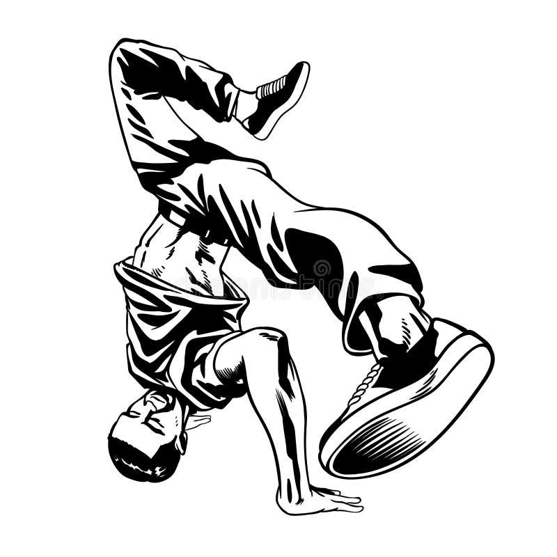 Homem do dançarino do hip-hop na pose dinâmica ilustração stock