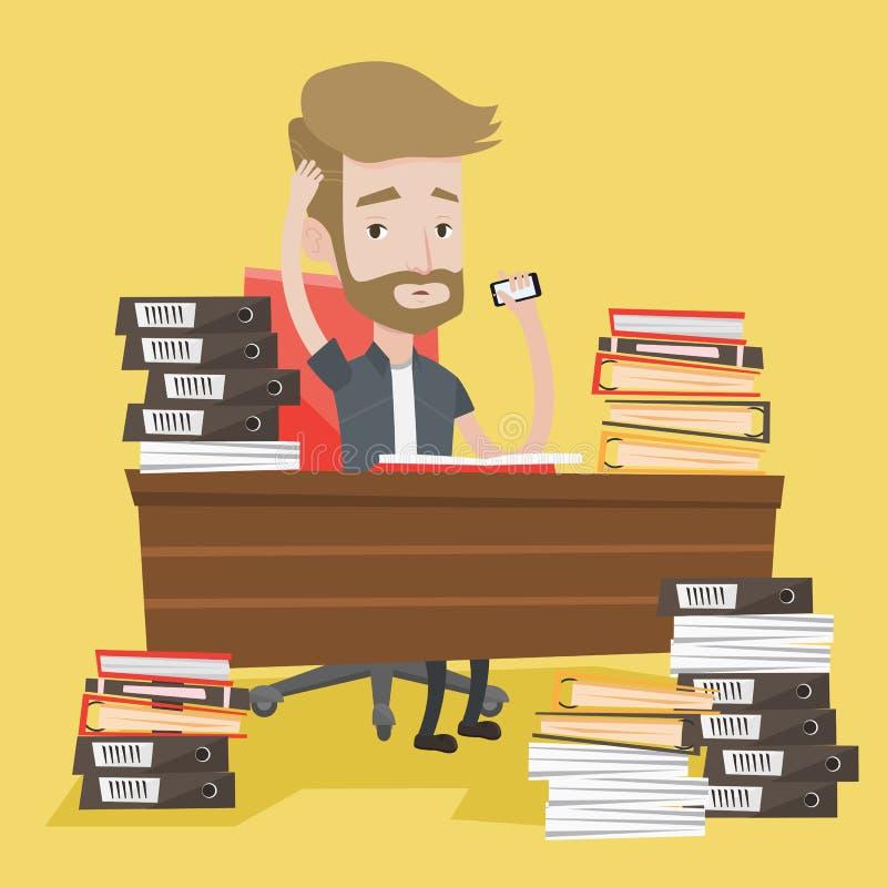 Homem do desespero que trabalha na ilustração do vetor do escritório ilustração stock