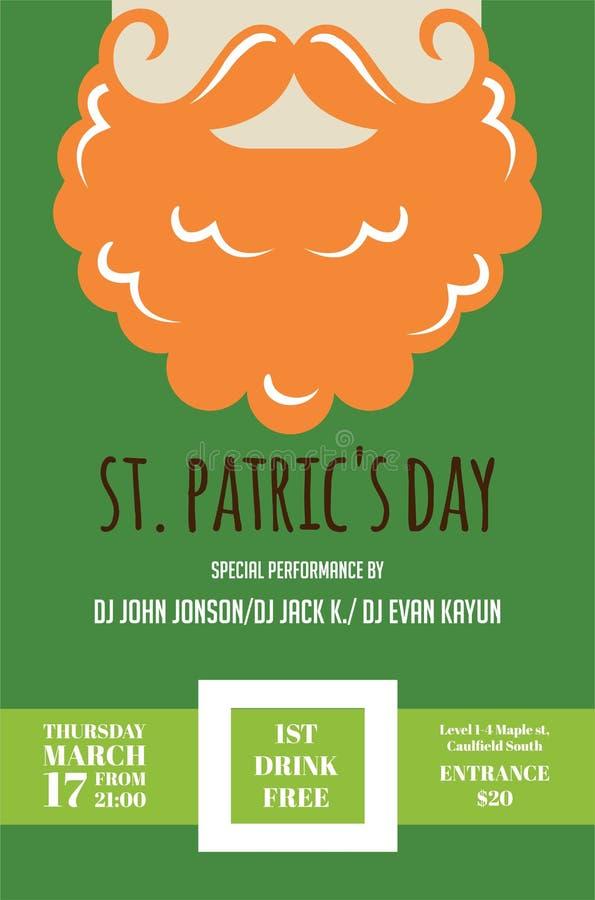 Homem do duende ou do irlandês com bigode e barba para o bar do dia do St Patricks ou o convite do partido ilustração stock