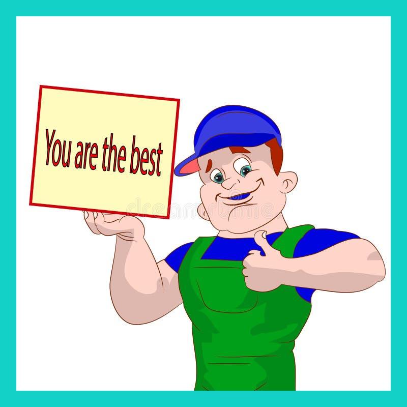 Homem do encanador que mostram os polegares acima, e quadro, você ` com referência ao melhor, desenhos animados no fundo branco ilustração royalty free