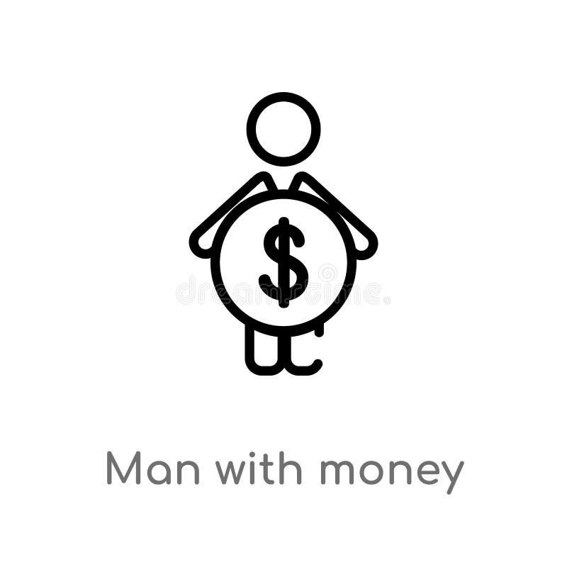 homem do esboço com ícone do vetor do dinheiro linha simples preta isolada ilustra??o do elemento do conceito dos povos Curso edi ilustração royalty free