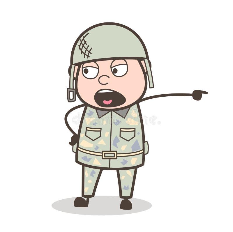 Homem do exército dos desenhos animados que dá muito rudemente uma ilustração do vetor da ordem ilustração stock