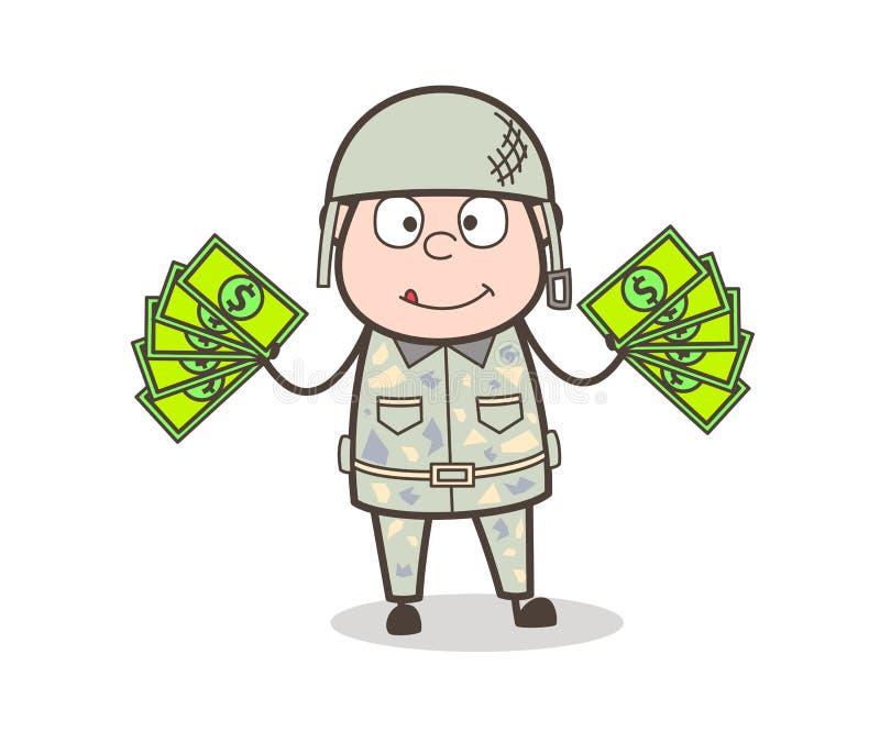 Homem do exército dos desenhos animados que mostra a ilustração do vetor do dinheiro ilustração stock