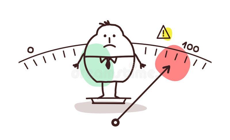 Homem do excesso de peso dos desenhos animados ilustração royalty free