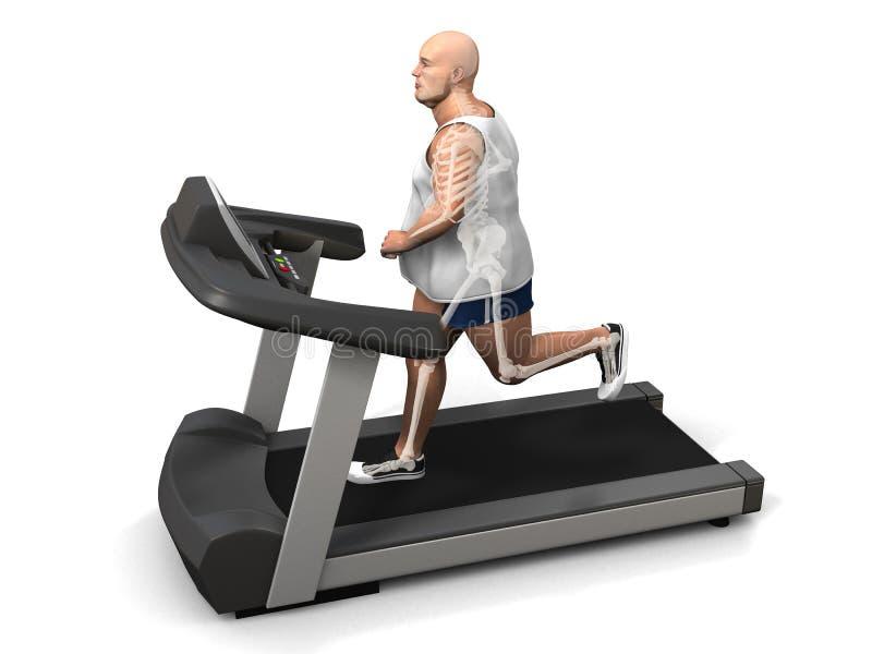 Homem do excesso de peso na escada rolante ilustração royalty free