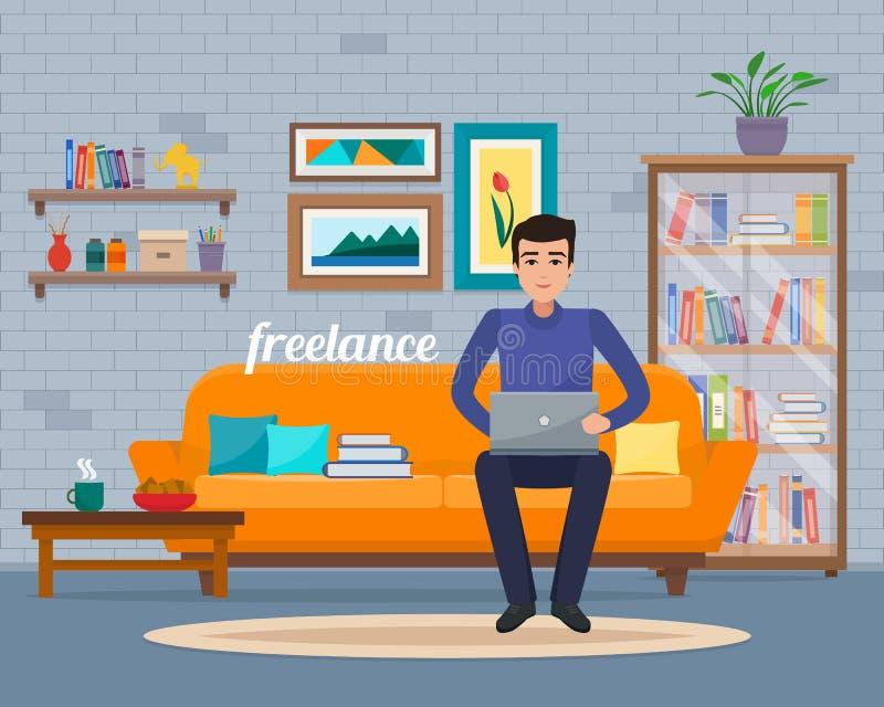 Homem do Freelancer com o computador no sofá em casa ilustração stock