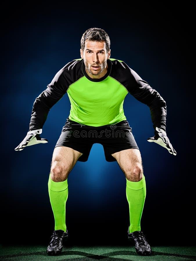 Homem do futebol do goleiros fotografia de stock