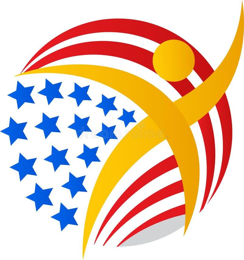 Homem do globo da bandeira americana ilustração stock