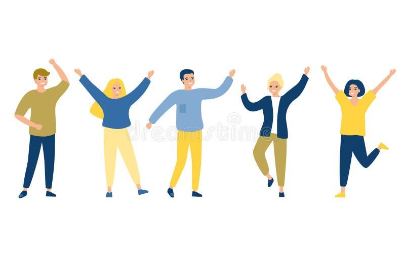 Homem do grupo de pessoas e fêmea felizes na roupa ocasional Conceito da amizade, estilo de vida saudável, sucesso Ilustra??o do  ilustração do vetor