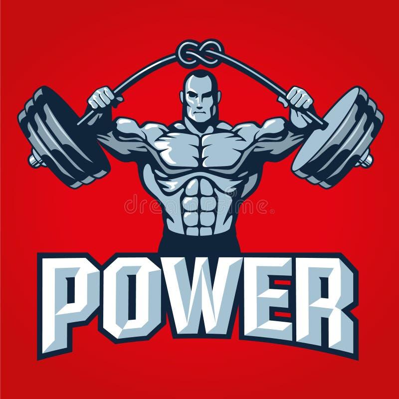Homem do halterofilista do músculo que levanta o barbell pesado com nó Molde do logotipo do Gym ou projeto da cópia da camisa de  ilustração do vetor