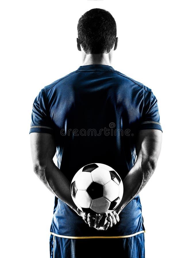 Homem do jogador de futebol que está para trás a silhueta isolada imagens de stock
