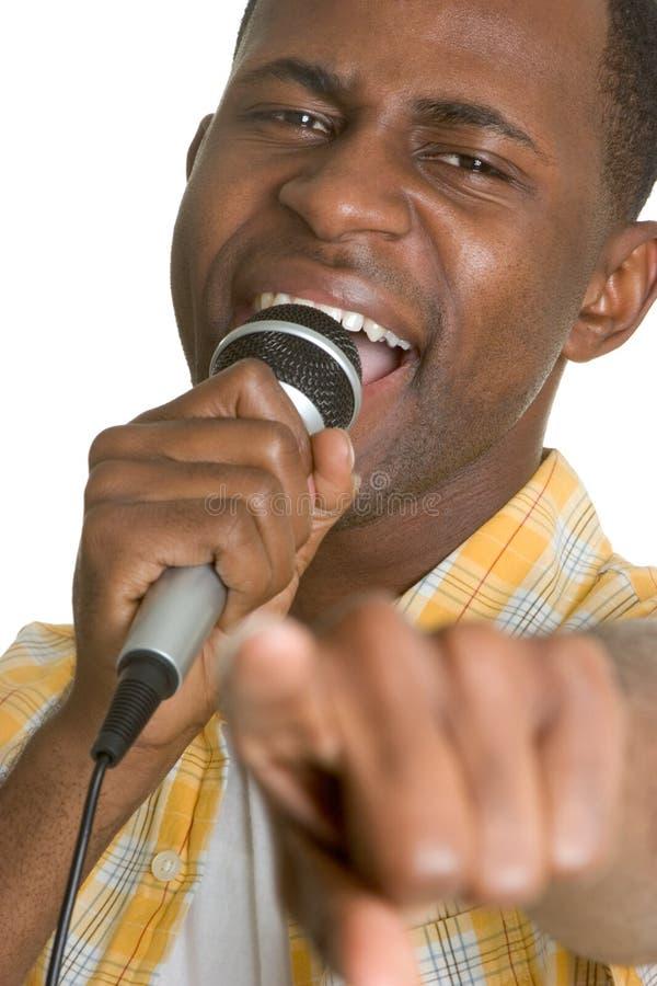 Homem do karaoke fotografia de stock