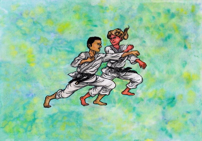 Homem do karaté contra a mulher (o poder das artes marciais, 2014) ilustração stock