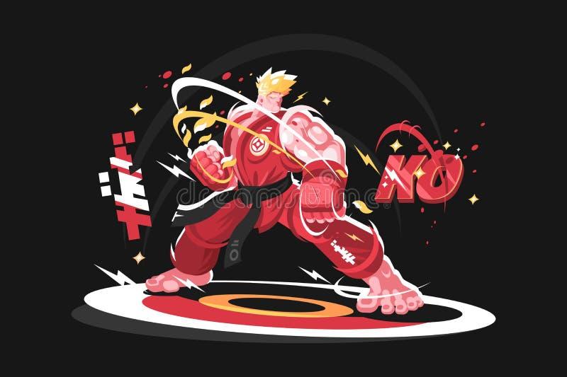 Homem do karaté no quimono ilustração stock