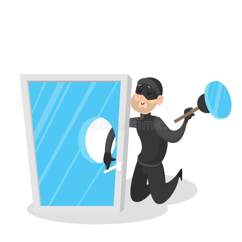 Homem do ladrão na roupa e na máscara pretas ilustração stock