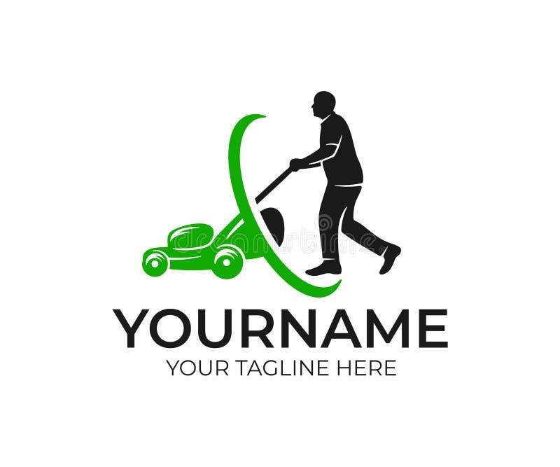 Homem do Lawnmower e lawnmower, projeto do logotipo Projeto da paisagem e jardinagem, projeto do vetor ilustração stock
