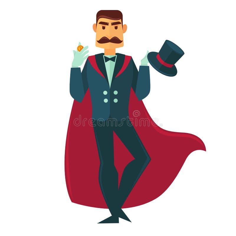Homem do mágico do circo com ícone liso do vetor mágico do chapéu ilustração royalty free