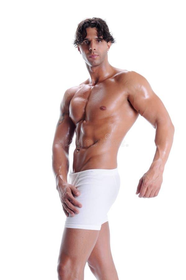 Homem do músculo em sumários do pugilista fotos de stock