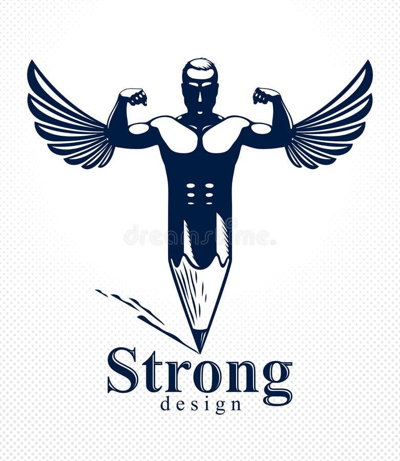 Homem do m?sculo do homem forte combinado com o l?pis e as asas em um s?mbolo, conceito de projeto forte, alegoria criativa do po ilustração do vetor