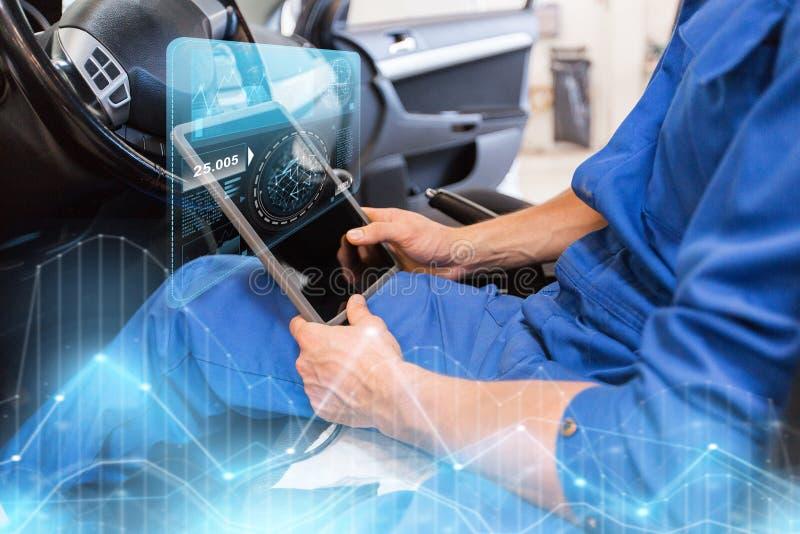 Homem do mecânico com o PC da tabuleta que faz o diagnóstico do carro imagens de stock royalty free