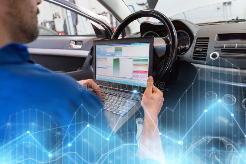 Homem do mecânico com o portátil que faz o diagnóstico do carro imagens de stock royalty free