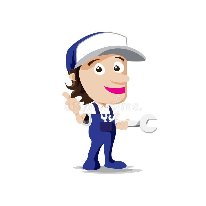 Homem do mecânico do sorriso com ferramenta à disposição, polegar acima do vetor ilustração royalty free