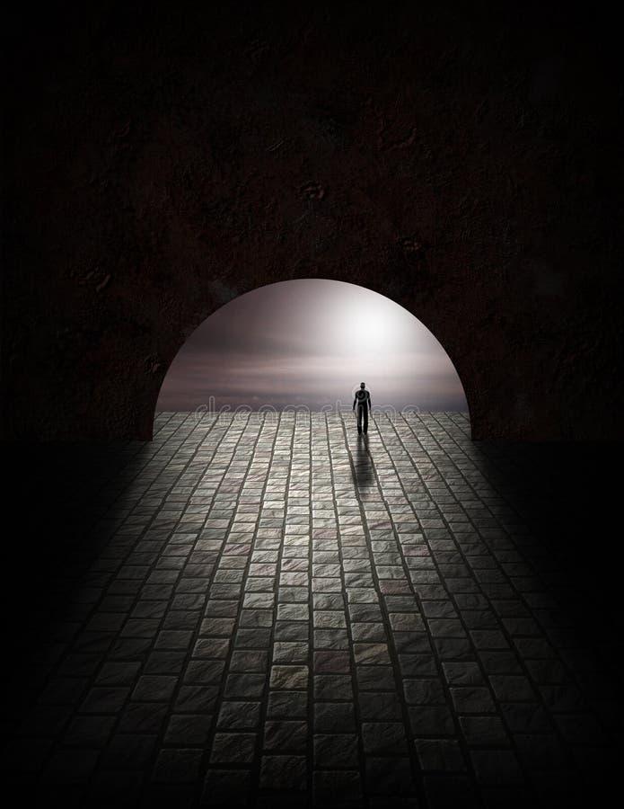 Homem do mistério no túnel ilustração stock
