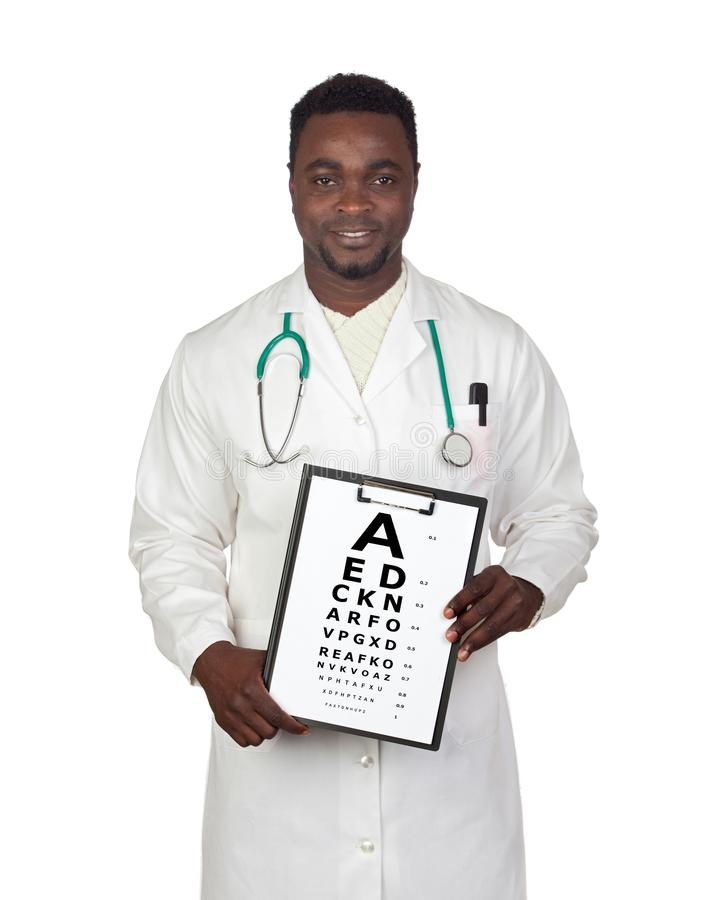 Homem do oculista com um exame da visão fotografia de stock royalty free
