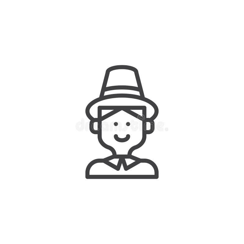 Homem do peregrino com ícone do esboço do chapéu ilustração royalty free