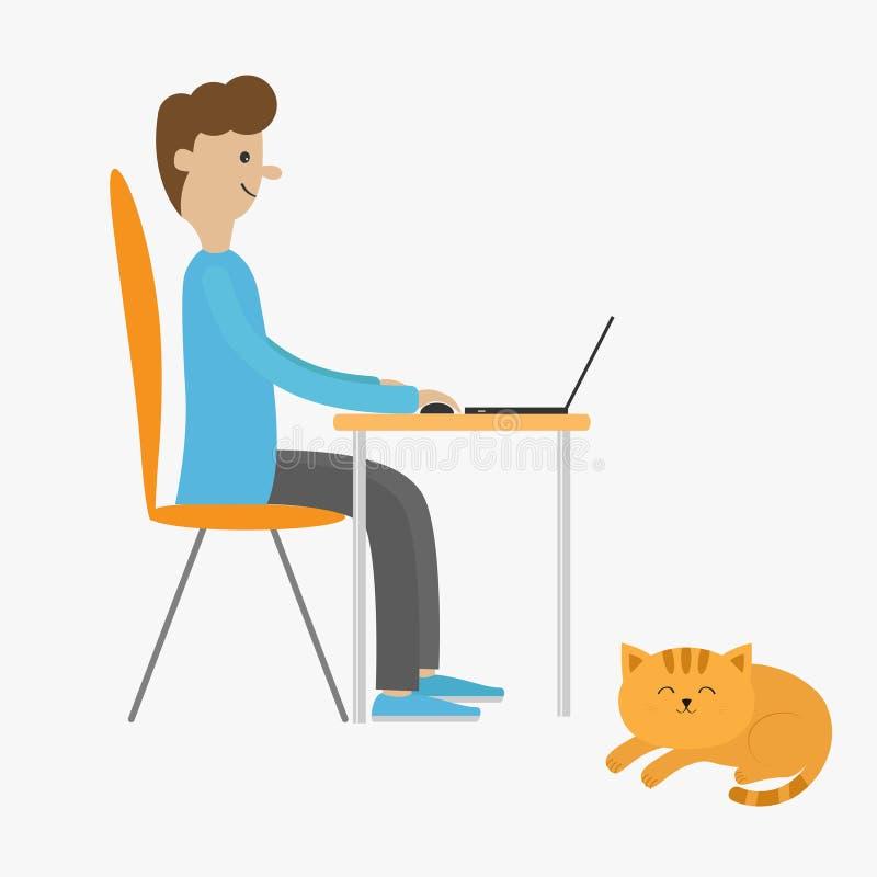 Homem do perfil na mesa com leptop Indivíduo que trabalha no computador Menino que senta-se na tabela da cadeira Gato de encontro ilustração royalty free