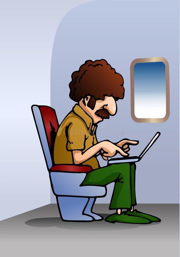 Homem do permanente que usa o portátil no plano ilustração do vetor