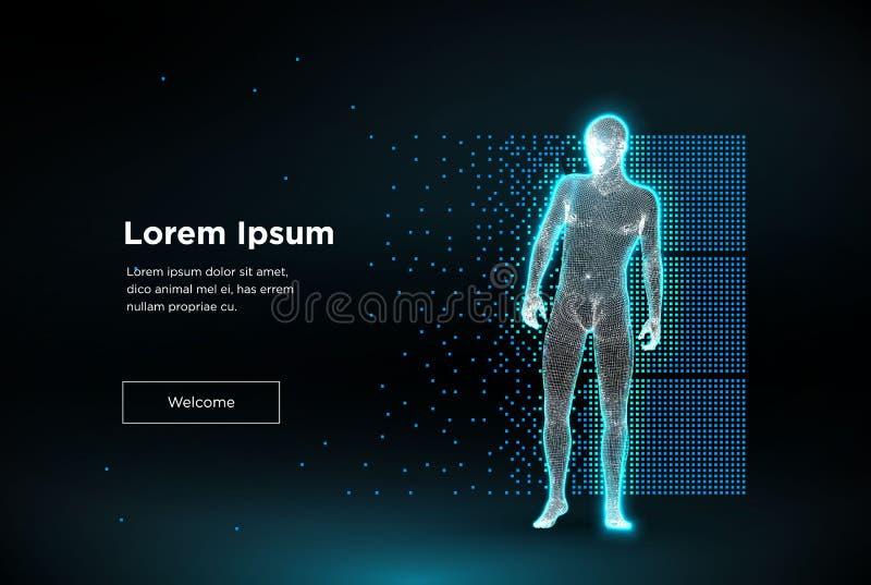 Homem do polígono de Wireframe ilustração stock