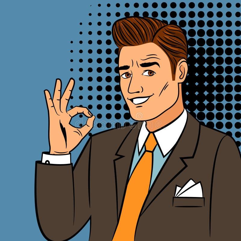 Homem do pop art que mostra o sinal aprovado ilustração royalty free