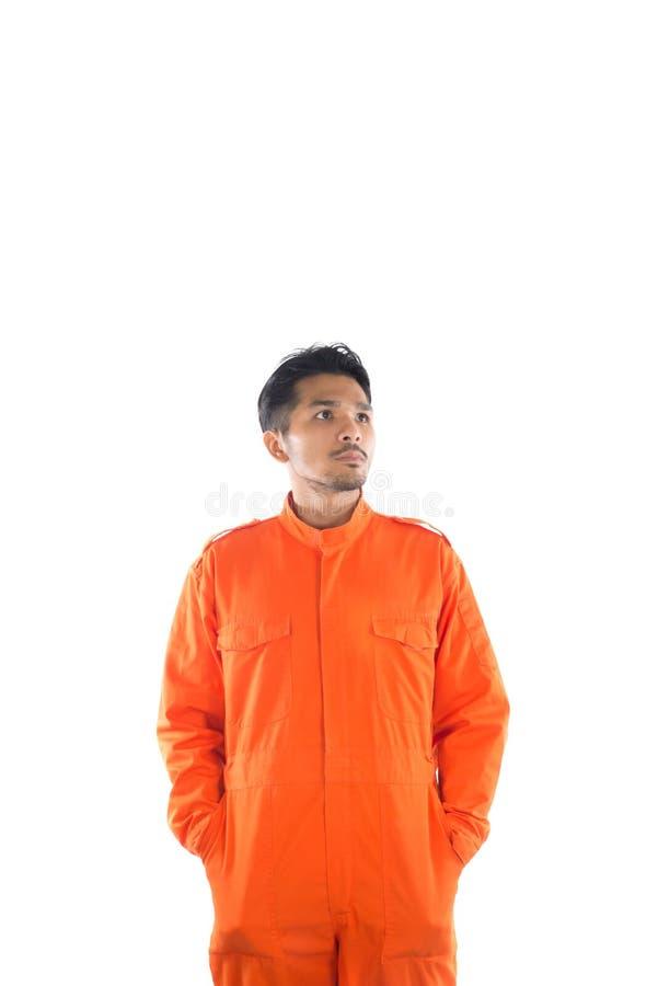 Homem do prisioneiro isolado no branco fotos de stock