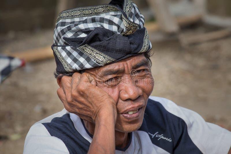 Homem do retrato na ilha de Bali indonésia fotografia de stock royalty free