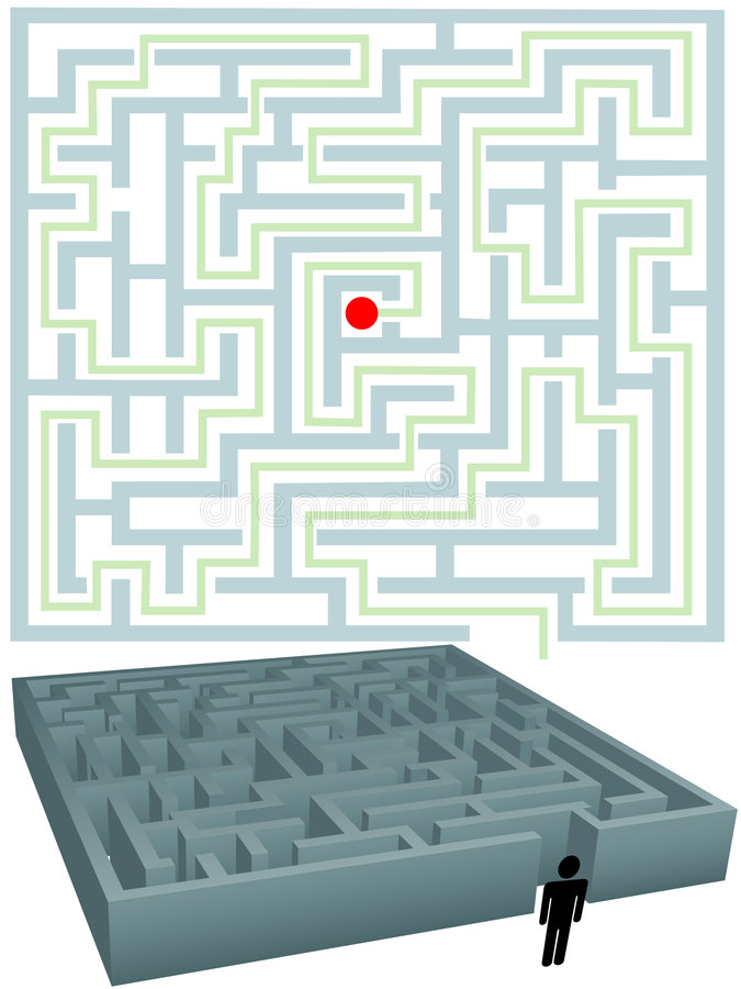 Homem do símbolo com planta para a solução de enigma do labirinto ilustração do vetor