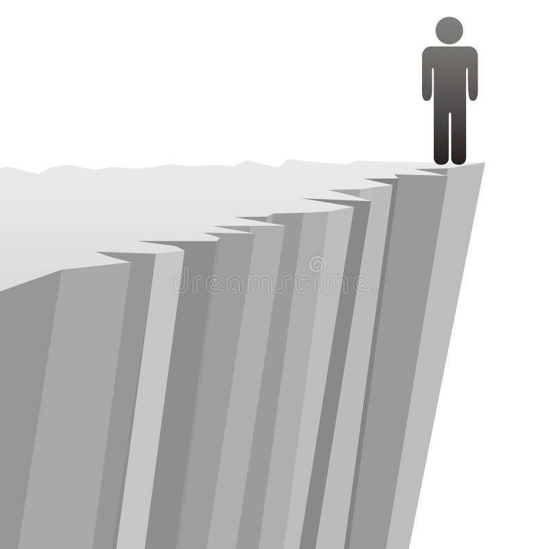 Homem do símbolo em risco a cair a borda do penhasco do perigo ilustração do vetor