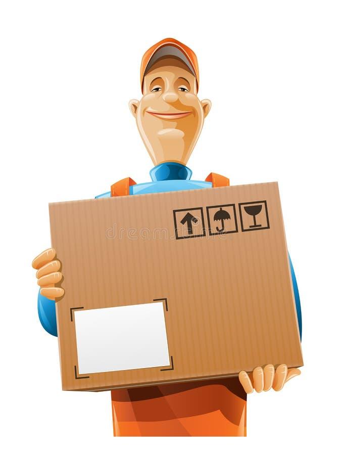Homem do serviço de entrega com caixa ilustração do vetor