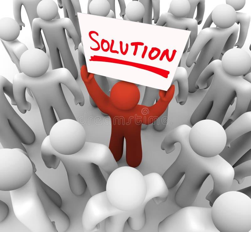 Homem do sinal da palavra da solução que guardara a ideia que compartilha do reparo do problema ilustração stock