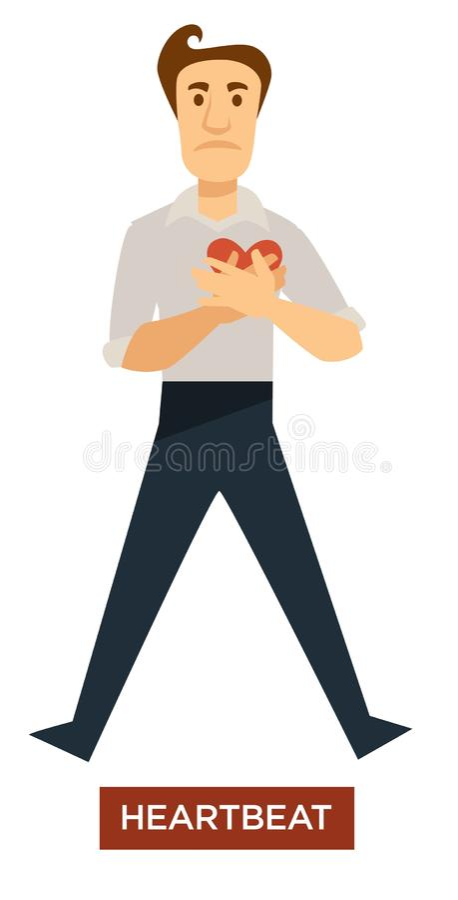 Homem do sintoma da insolação da pulsação do coração que guarda o caráter isolado coração ilustração royalty free
