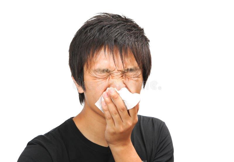 Homem do Sneeze fotos de stock royalty free