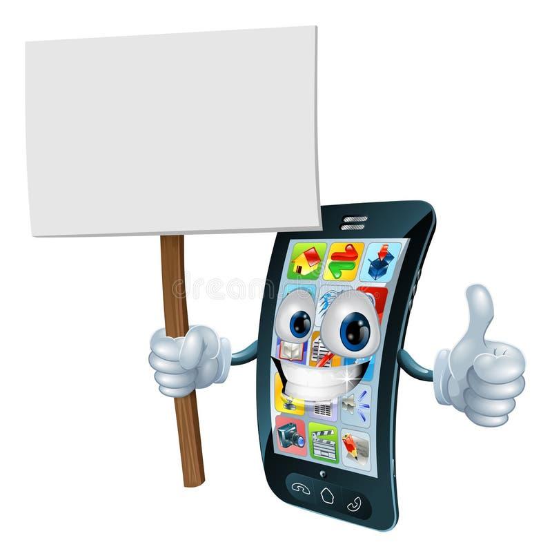 Homem do telefone móvel do sinal da placa do anúncio ilustração do vetor