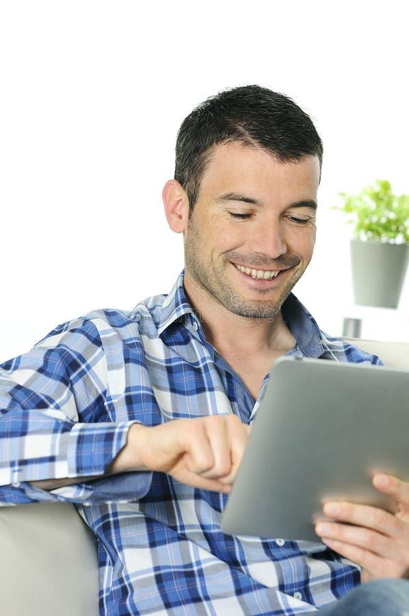 Homem do Touchpad fotos de stock royalty free