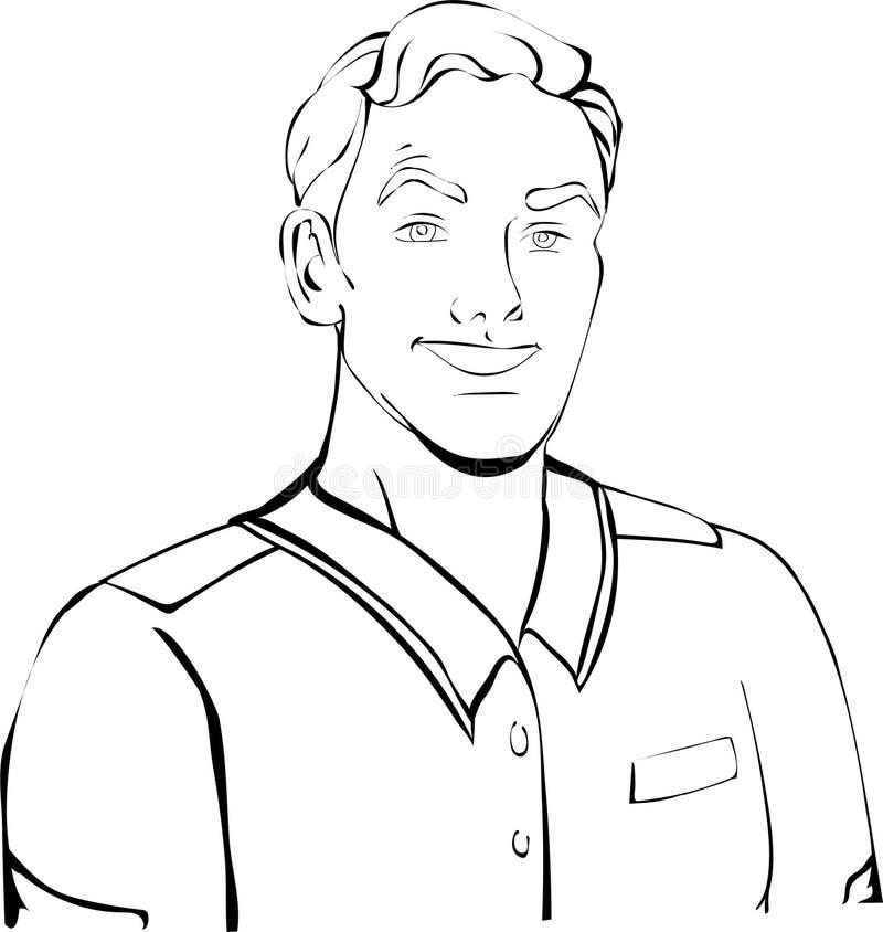 Homem do trabalhador, com o penteado no revestimento, camisa ilustração do vetor