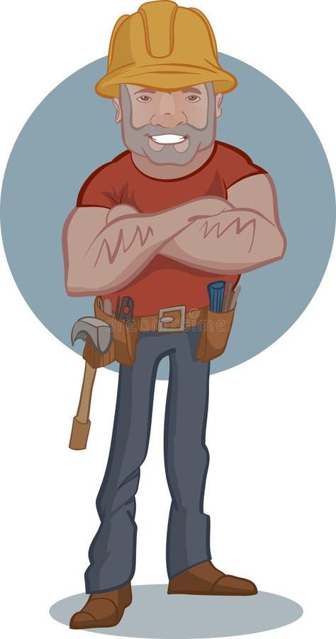 Homem do trabalhador do trabalhador manual do serviço do mecânico ou do encanador dos desenhos animados ilustração royalty free