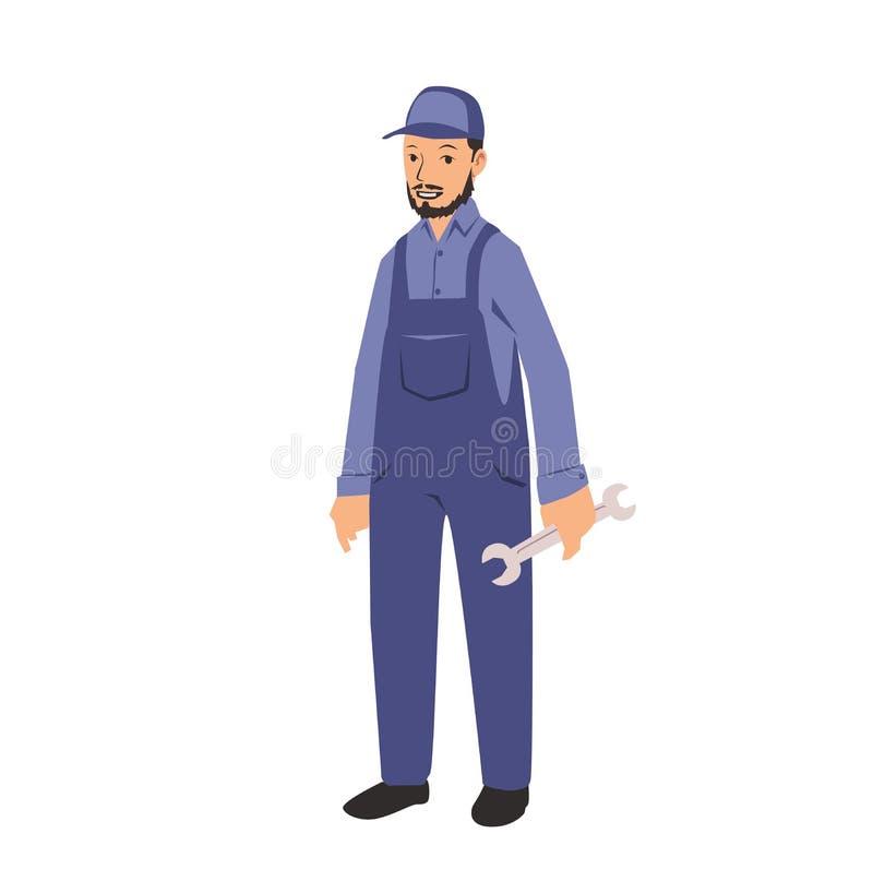 Homem do trabalhador do trabalhador manual do serviço do mecânico que guarda uma chave inglesa Ilustração lisa do vetor Isolado n ilustração royalty free